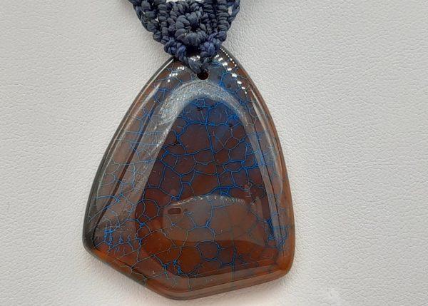 homme ou femme - agate du bijou en macramé bleu sur agate1002