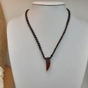 """bijou-homme -collier """"brun et noir sur carnéole de Nia"""""""