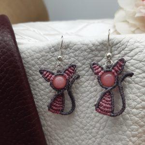 """femme-boucles d'oreille en macramé """"chatons roses et gris"""" sur rubis zoisite"""