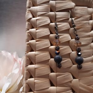 emme- bijou-paire de boucles d'oreille fantaisie-brun-noir