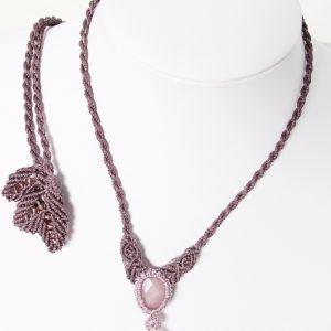 collier macramé sur quartz rose et aventurine
