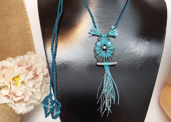 bijou-collier macramé- HIBOU en turquoise et gris