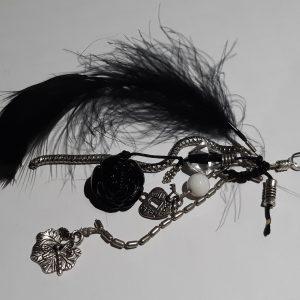 femme, accessoire - bijou de sac plume noire