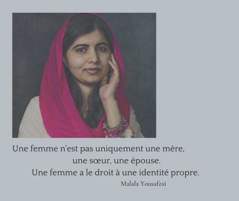 Malala Yousafzai journée internationale du droit des femmes.
