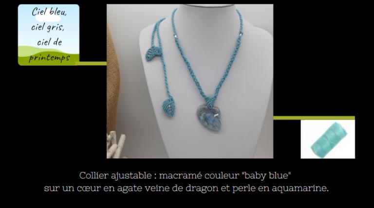 collier ajustable en macramé sur cœur asymétrique en agate bleuet perle en aquamarine