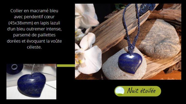 Lapis lazuli pour ce collier en macramé