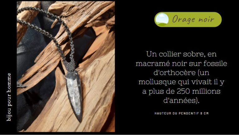sur fossile d'orthocère pour homme, collier , en macramé noir
