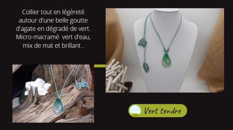 Sur goutte d'agate onyx, collier macramé Vert tendre