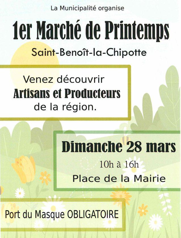 Flyer marché de printemps de St Benoît 88700