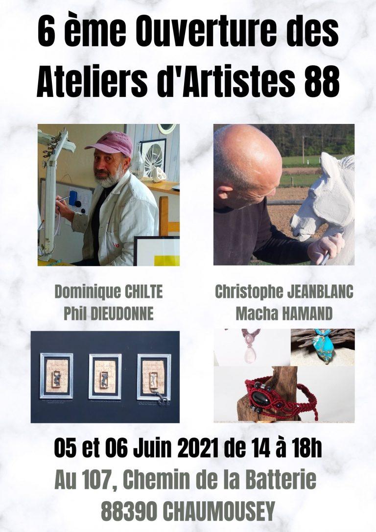 Affiche parcours ateliers d'artistes 88 les 5 et 6 juin 2021